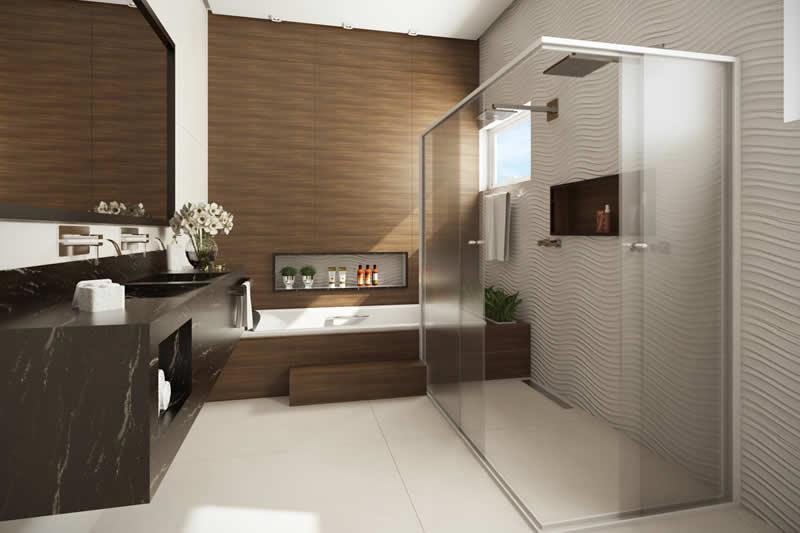 Baño con lavabo y ducha doble.